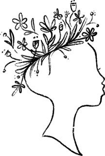 Hand-drawn image of woman's head with flowers blooming out of the top