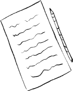 Hand-drawn image of a journal page and pencil for writing down values