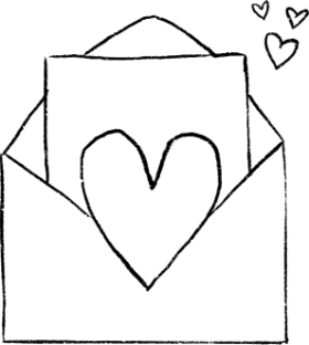 Hand-drawn image of a love note inside an envelope