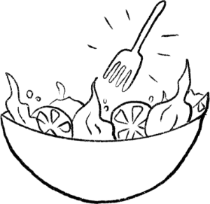Hand-drawn image of eating a healthy salad