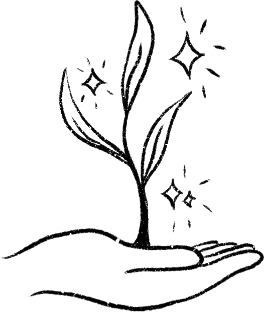 Hand-drawn image of a hand sprouting a plant