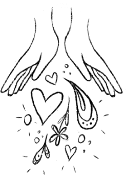Hand-drawn image of hearts spilling out of a pair of hands