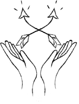 Hand-drawn image of two open hands holding two arrows that cross