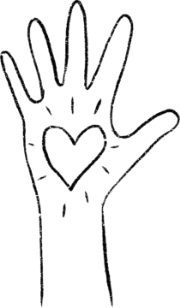 Hand-drawn image of a hand with a heart in the middle