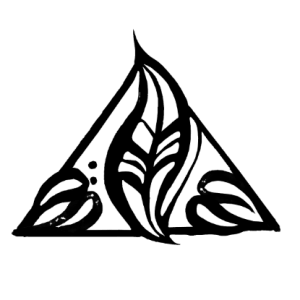 Shop pillar icon, which is a triangle with two hearts and a leaf to represent freedom or Moksha