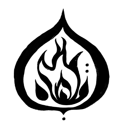 Think pillar icon, which is an outer flame and inner flame to represent self-wisdom or Svadhyaya