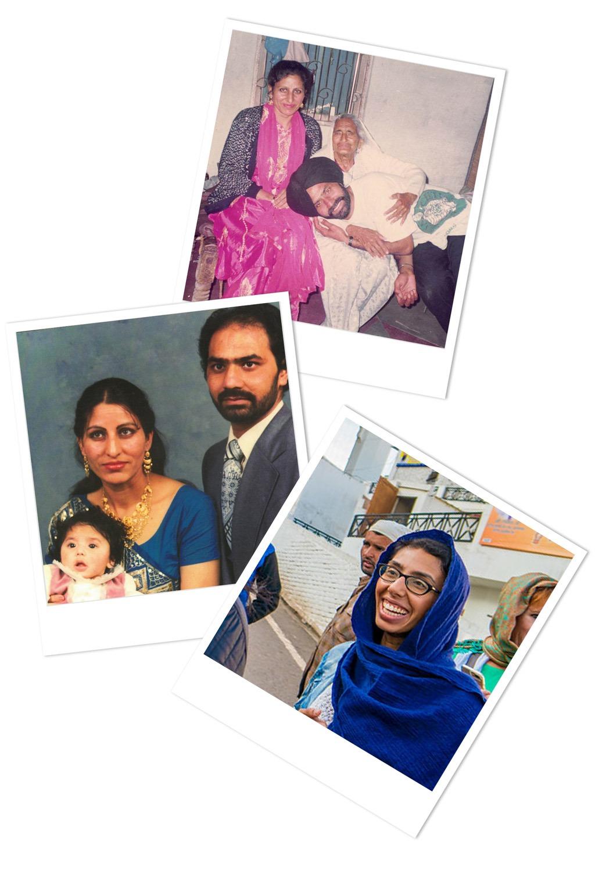 Polaroid photos of Meenu's parents in India and Canada